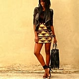 Congrats, Stylesbyassitan! Your jacket adds a great edge to your tribal-print skirt.