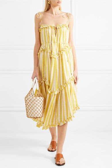 Zimmermann Lumino Asymmetric Ruffled Striped Linen Midi Dress ($750)