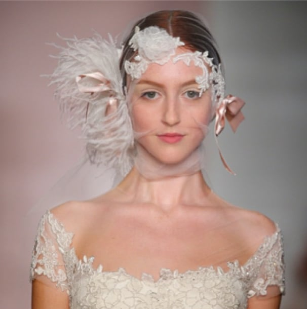 Reem Acra got us up close with her finely feathered bridal designs. Source: Instagram user reem_acra