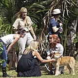 Terri Irwin watched the animals at the Australia Zoo.