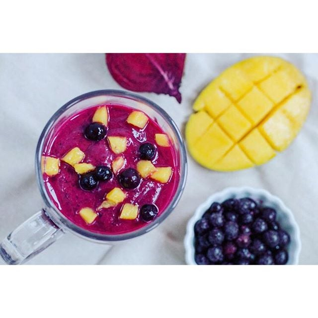 Julianne posted a pic of this beet-iful smoothie from her website made with beets, mango, and fresh ginger.