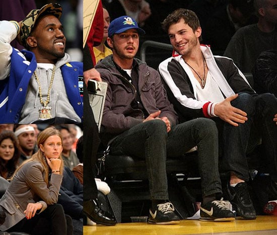 Shia LaBeouf, Kanye West, Ashton Kutcher at the Laker Game