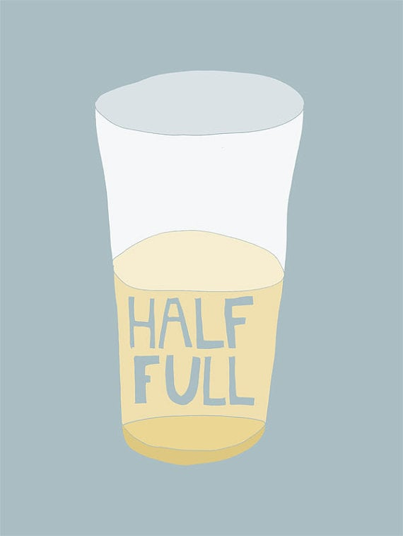 I love the cartoonish vibe of this Glass Half Full Art Print (approx $15).