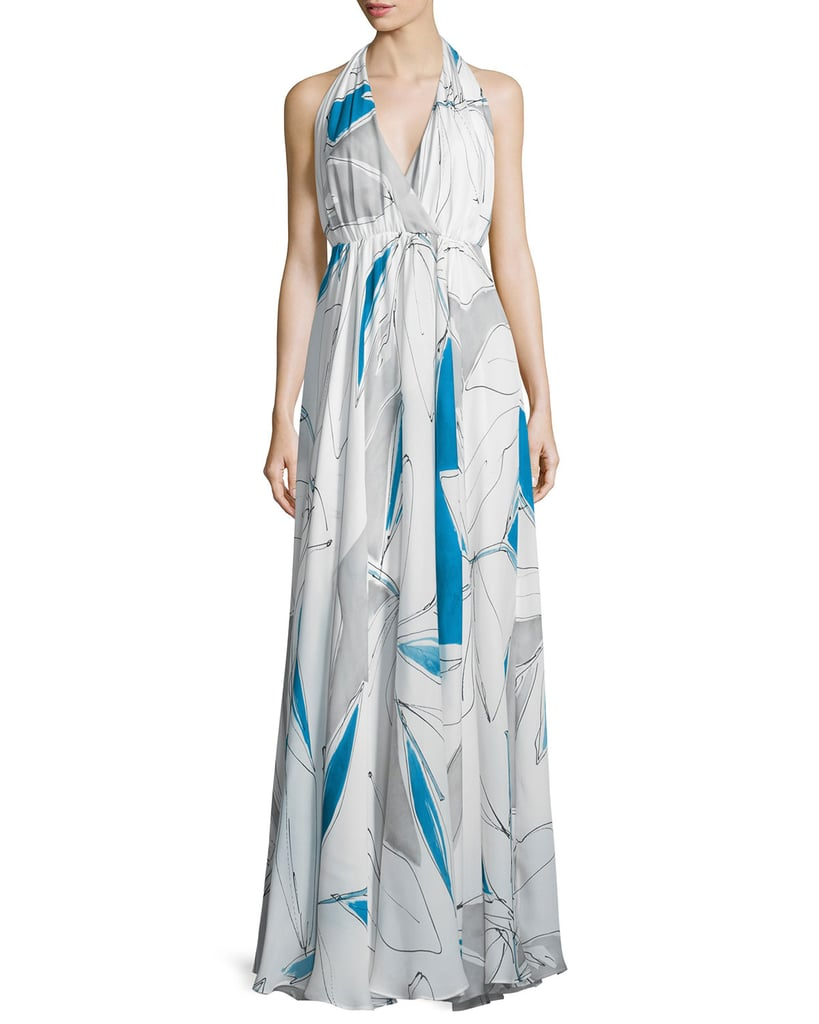 Milly Abstract-Print Halter Gown | Amal Clooney\'s Blue Dress at the ...