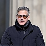George Clooney sported shades on the set of The Monuments Men in Berlin.