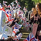 Kate Middleton waved to fans in Newcastle upon Tyne.