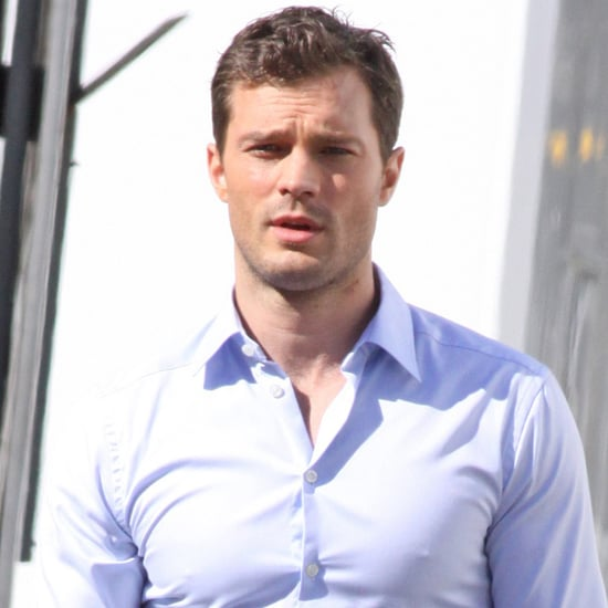 Jamie Dornan Throwing a Football on Fifty Shades Darker Set