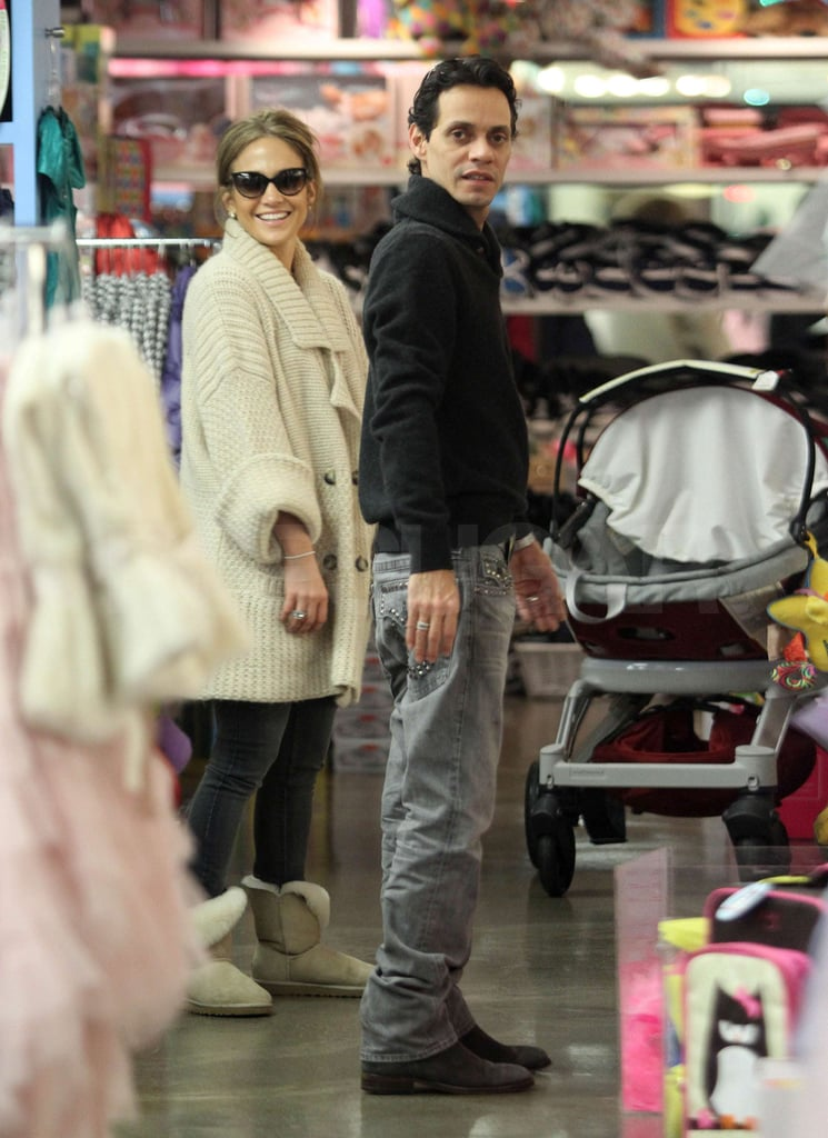 """Jennifer Lopez and Marc Anthony joined the long list of stars doing last-minute holiday shopping yesterday when they picked a few things up for their """"two coconuts,"""" twins Max and Emme, at Kitson Kids in LA yesterday. The happy parents could be forgiven for procrastinating on the gifts front, as they've been quite busy working and traveling over the last few weeks. Marc performed a show in Mexico City, while J Lo, who's front and center in some new ads for L'Oreal, has been doing double duty between being a mom and dedicating herself to her crazy American Idol shooting schedule. Her addition to the ever-changing reality show was one of the year's biggest entertainment headlines, and we don't have to wait much longer until we see her seated at the judging table —season 10 is schedule to debut on Jan. 19."""