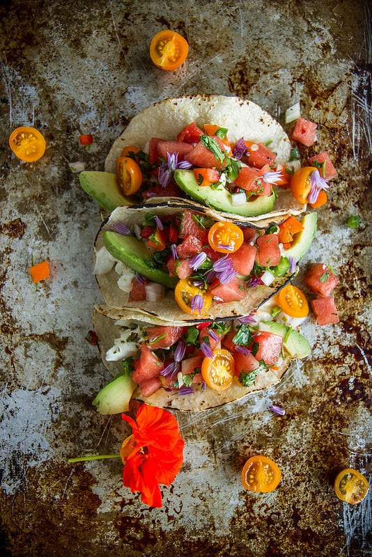 Grilled Halibut Tacos With Watermelon Salsa
