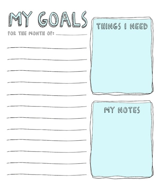 free printable goal sheets popsugar smart living