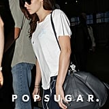 Kristen Stewart arrived at the airport after a trip to Paris.