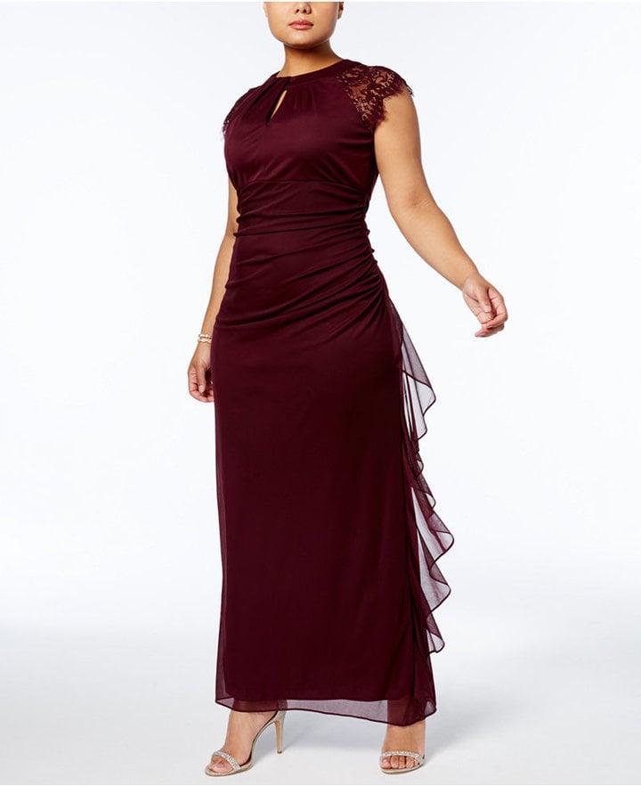 Betsy & Adam Lace Matte Jersey Gown | Plus Size Wedding Guest ...