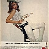 Julie Newmar, who played Catwoman on TV, goes western for a 1966 Smirnoff ad.