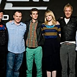 Ari Arad, Marc Webb, Andrew Garfield, Emma Stone, Rhys Ifans, and producer Matt Tolmach posed together at a press conference for The Amazing Spider-Man in Seoul.