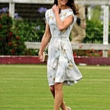 LK Bennett Silver Sandal in nude July 9th, 2011 Attending a polo match in Santa Barbara, California.   Kate wore a de Gournay silver and marble grey hand-painted chinoiserie silk dress by Jenny Packham. She wore an open-toe high heel sandal — the Silver Sandal by LK Bennett in taupe. She also carried her LK Bennet Natalie clutch.
