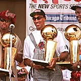 Michael Jordan and Dennis Rodman With Scottie Pippen at a Rally in Chicago in 1996