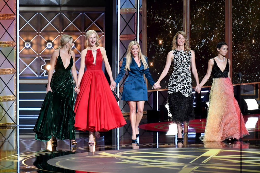 The Emmy Awards went down in LA on Sunday night, and among all the glitz and glamour of the red carpet was the gorgeous cast of Big Little Lies. The show's stars, including Reese Witherspoon, Nicole Kidman, Zoë Kravitz, Shailene Woodley, and Laura Dern, flashed huge smiles while posing for photos on the red carpet. All of the leading ladies got together to show off their bond when they presented an award. Laura, Nicole, and Alexander Skarsgard then all took home awards for their roles in the show, which also won for outstanding limited series. Because we love this cast so much, we're really keeping our fingers crossed for a second season!       Related:                                                                                                           Nicole Kidman Fights Back Tears While Thanking Keith During Her First Emmy Win