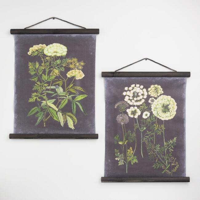 Black Botanical Linen Scroll Wall Hangings