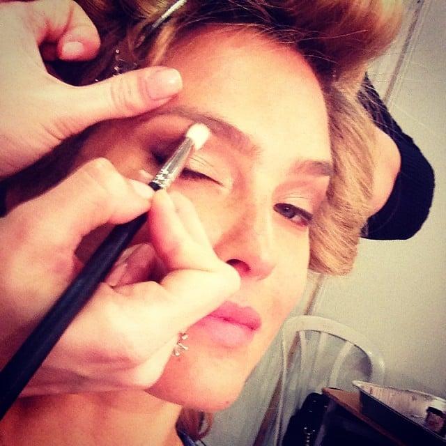 Bar Refaeli got her makeup done before an episode of X Factor Israel. Source: Instagram user barrefaeli