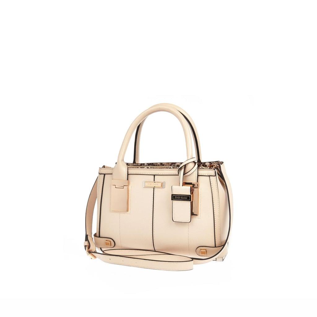 River Island Womens Cream mini hinge handle tote handbag ($70)