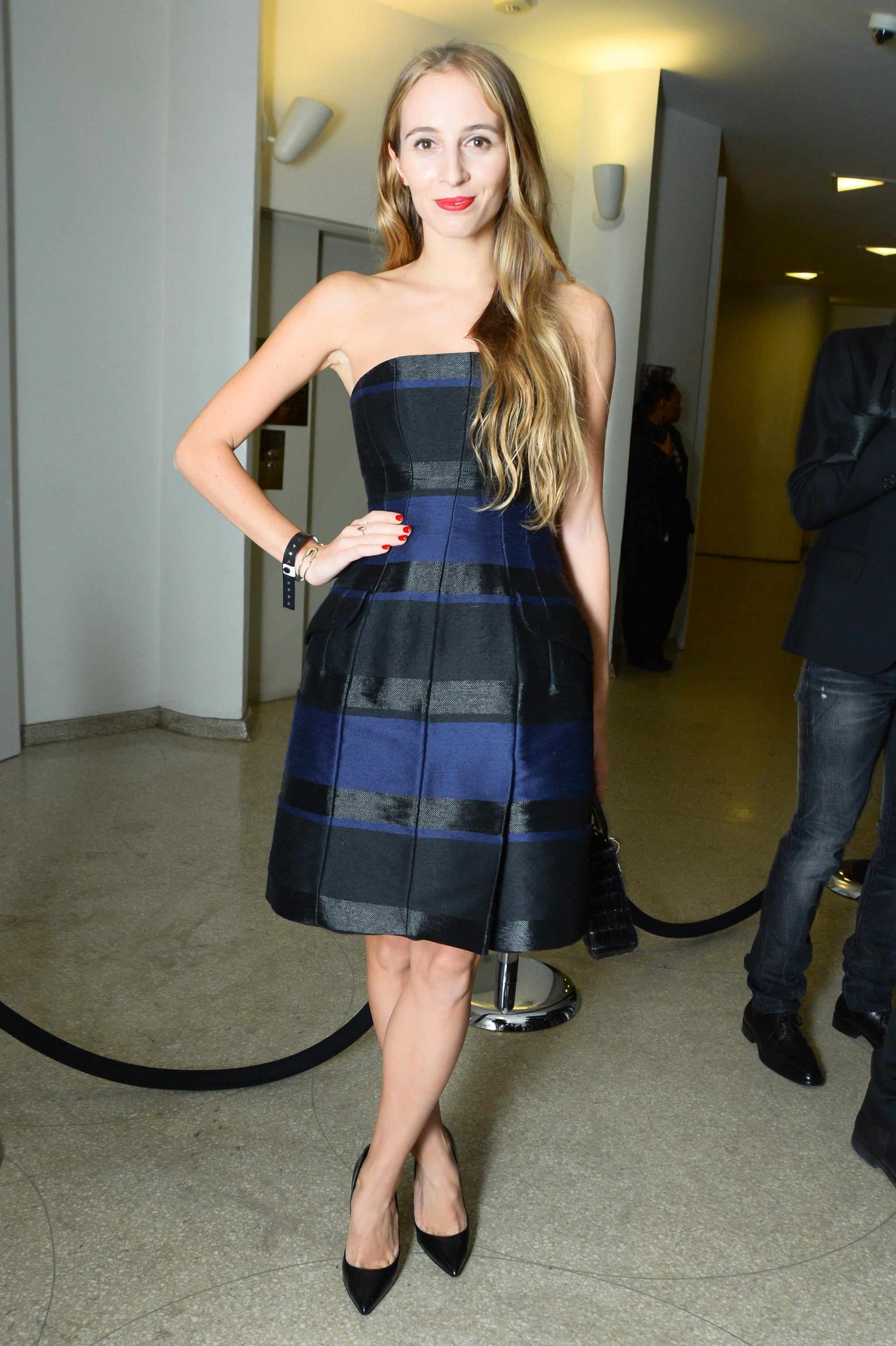 Harley Viera-Newton looked chic in her stripes well attending the Guggenheim International Gala with Dior.