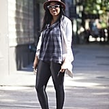A fedora, sneakers, and slick bottoms give plaid a little edge. Source: Adam Katz Sinding