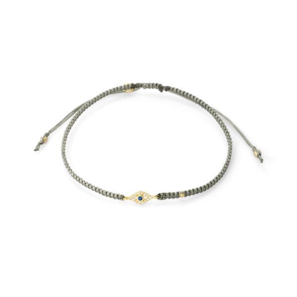 Tai Braided Silk Cord Bracelet With Mini Evil Eye