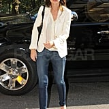 Katie Holmes paired a white blazer with her skinny jeans.