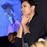Jennifer Hudson watched attentively as Fantasia performed.