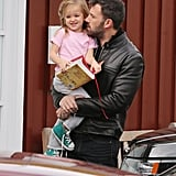 Ben Affleck carried Seraphina Affleck to breakfast in LA.