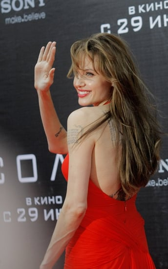 "Angelina Jolie arrives at the premier of the movie ""Salt"" in Moscow, Russia on Sunday (July 25)."