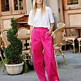The Drop Women's Magenta Loose Fit High Rise Wide Leg Pant by @thefashionguitar