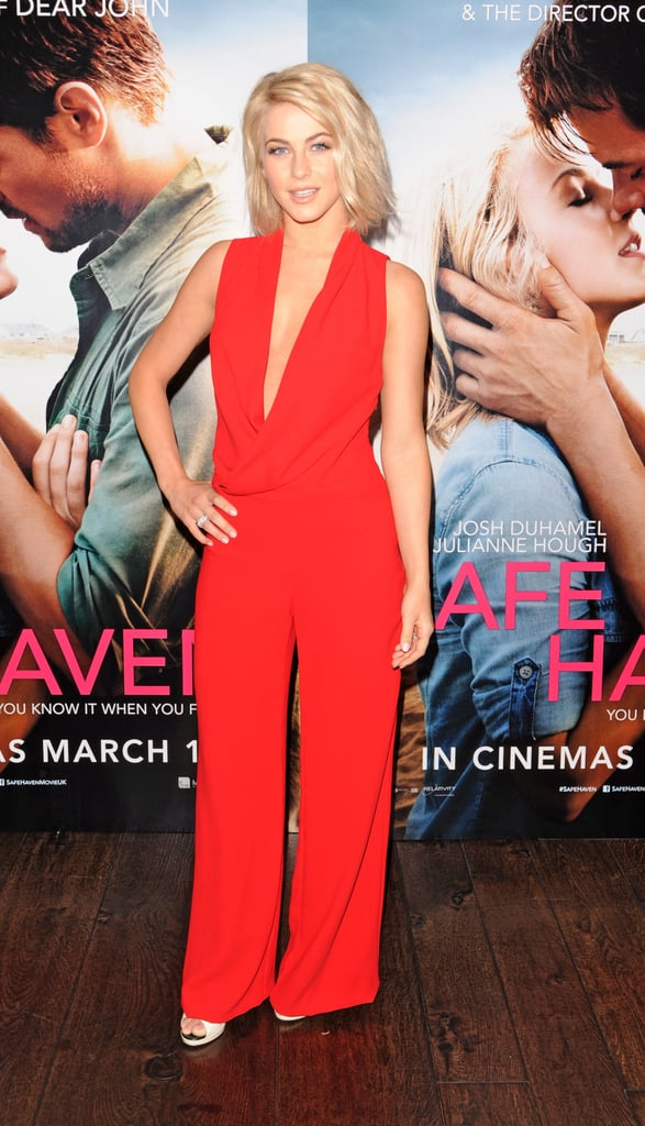 Julianne Hough was a sassy siren in a red plunging Bec & Bridge jumpsuit at the Safe Haven photocall in London.
