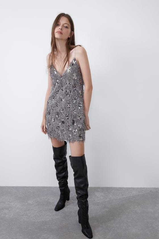 Zara Sequin Dress With Fringe