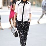 The Glamourai's Kelly Framel worked a black and white button-down and printed pants. Source: Greg Kessler