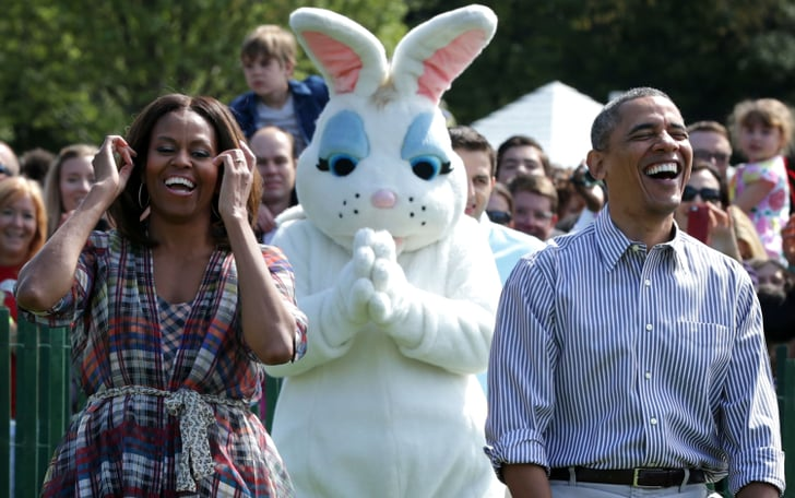 The Easter bunny just stood by, photobombing the moment.