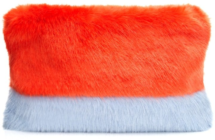 Shrimps Orange Faux-Fur Pablo Clutch