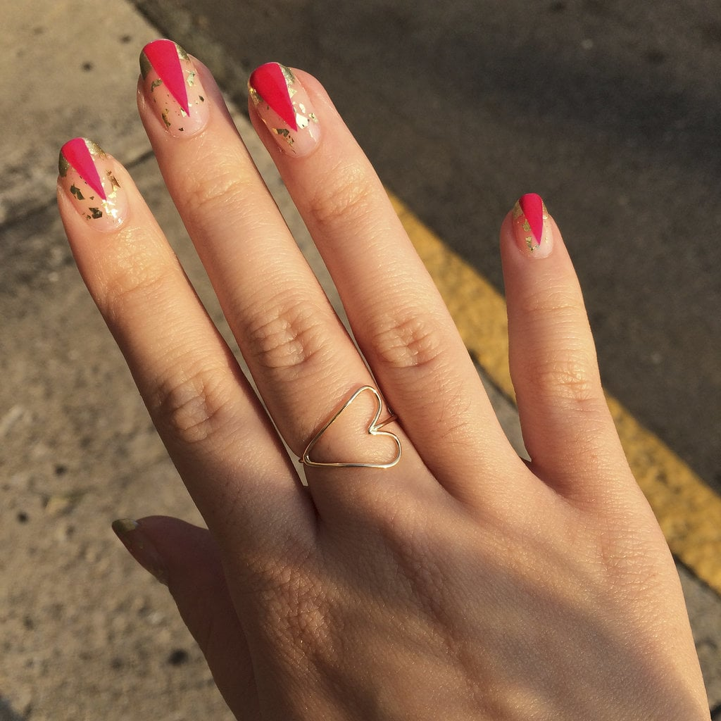 The Final Look Of These Graphic Gold And Pink Nails Is Sure To Bring