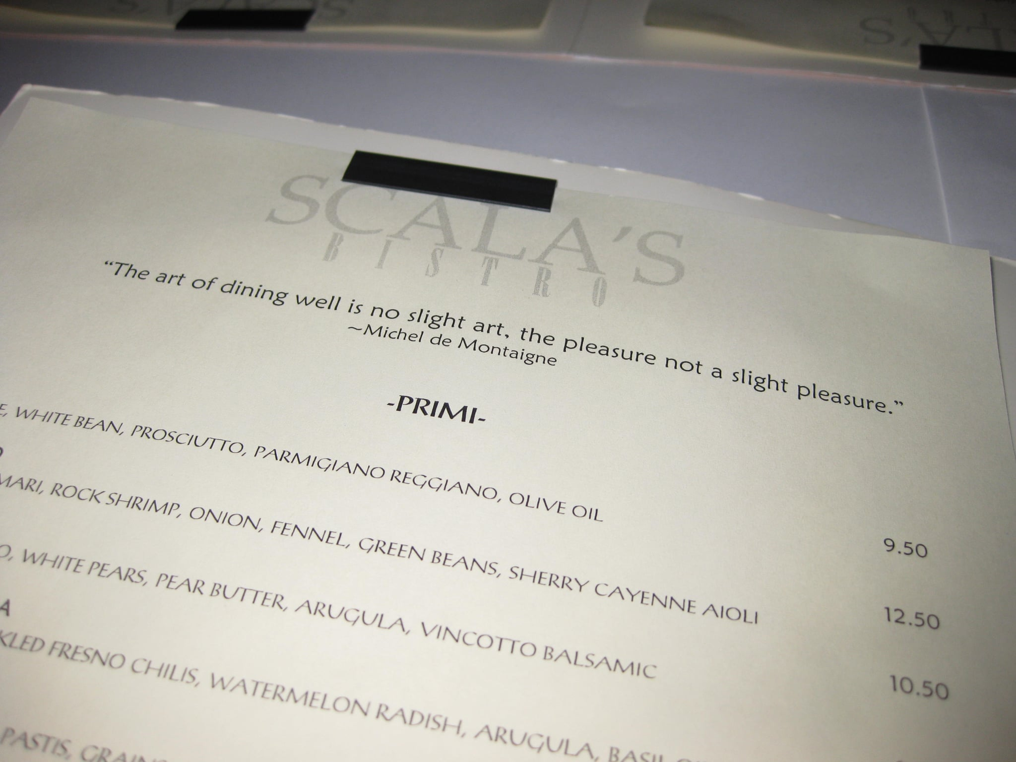 The menu at Scala's Bistro.