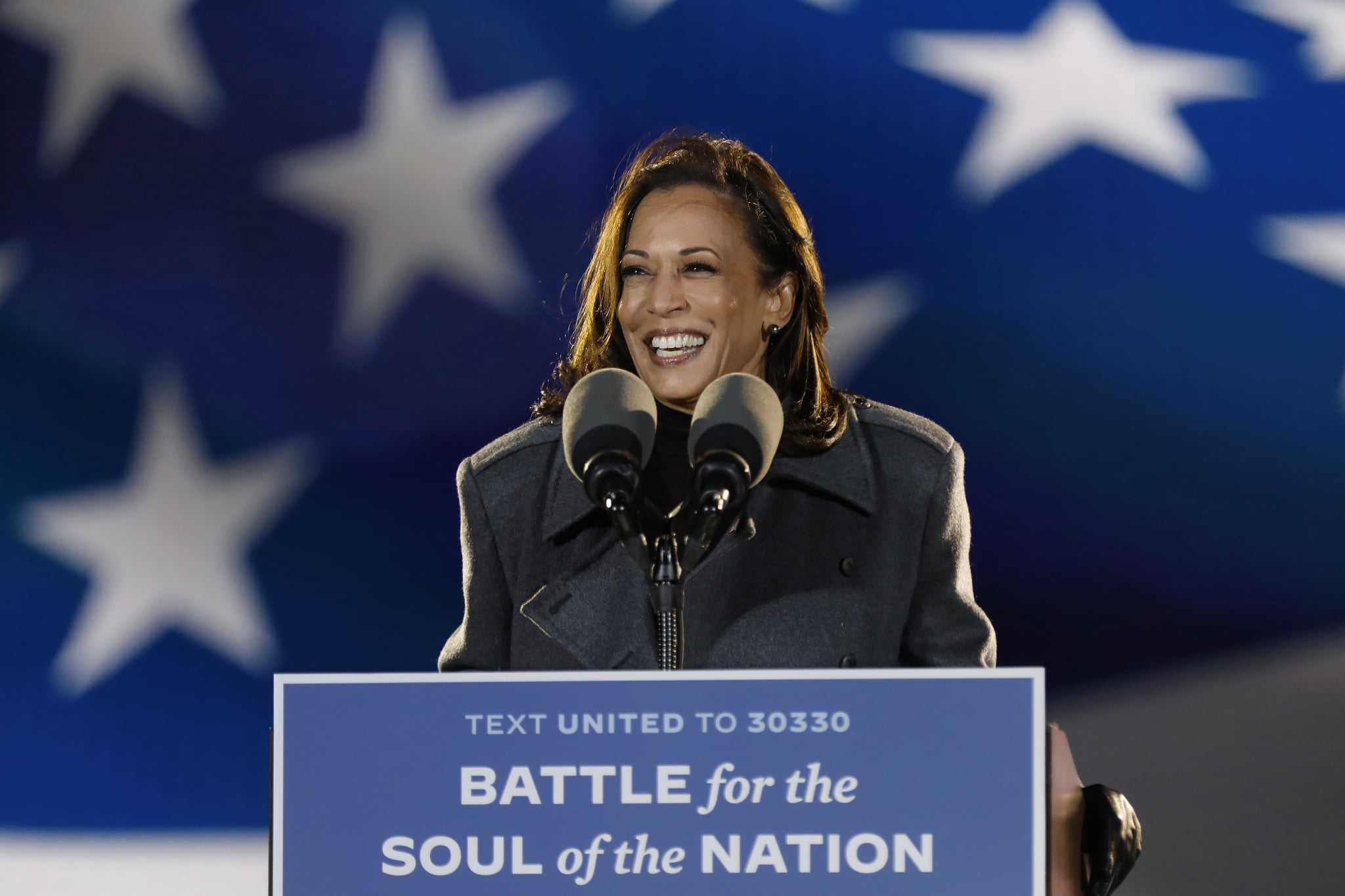 Philadelphia, Pennsylvania Nov. 2, 2020 Senator Kamala Harris addresses supporters at the drive- rally Monday night, Nov.2, 2020 at Citizens Bank Park parking lot in Philadelphia, Pennsylvania. (Carolyn Cole / Los Angeles Times via Getty Images)