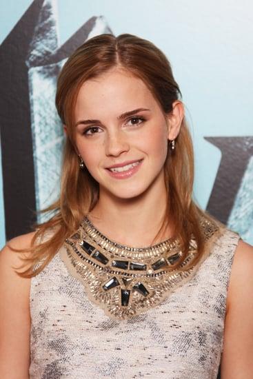 Actress Emma Watson Wears Jeweled Proenza Schuler Dress to Harry Potter Photocall in London