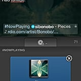 The #NowPlaying blurb reduces your tweet real estate to 80 characters.