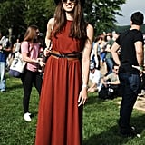 Daytime accessories like a casual belt, hat, and sunglasses helped take this H&M dress to the next level.