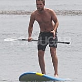 Robert Pattinson went shirtless in Malibu.