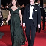 For the 2018 British Academy Film Awards, Kate wore an emerald gown from Jenny Packham. She topped it off with matching green jewels.