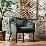Rivet Marina Mid-Century Curved Tufted Velvet Accent Chair