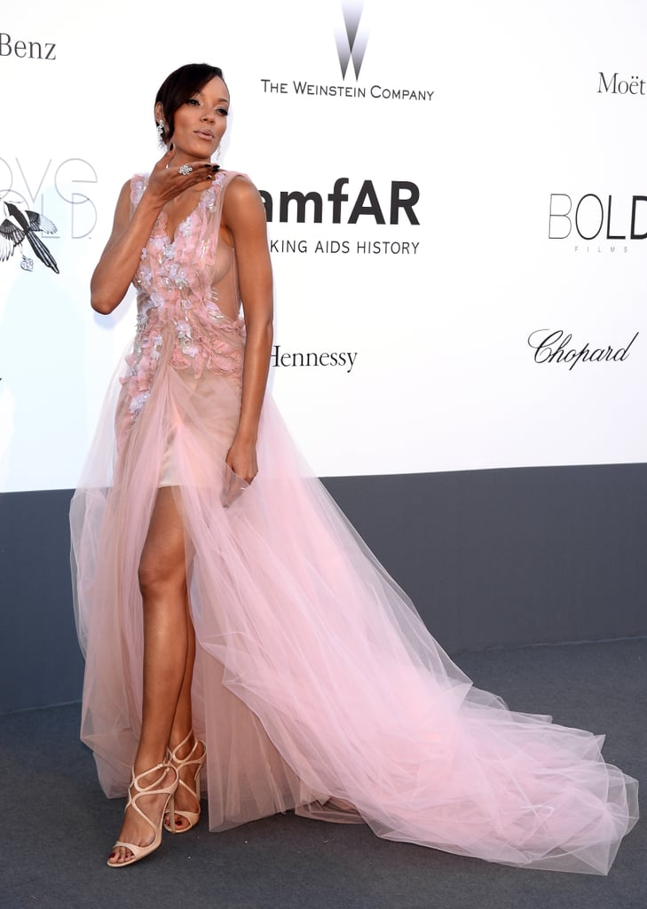 Selita Ebanks got super femme in a soft pink embellished gown with a frothy tulle skirt.