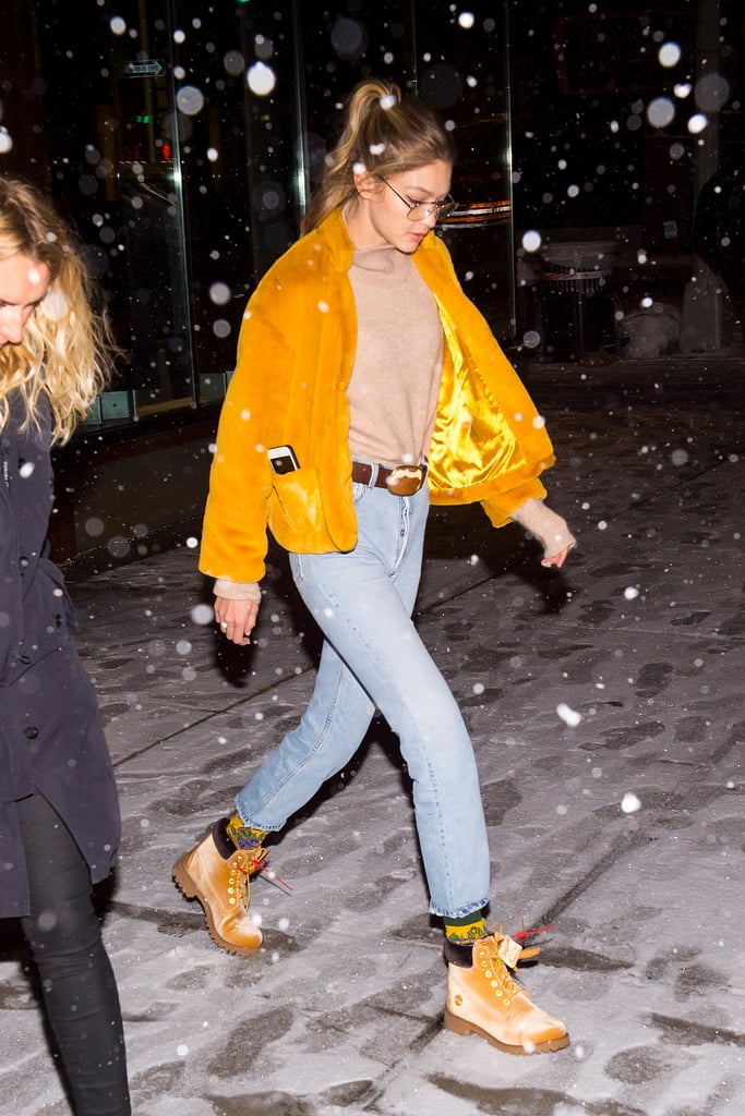 Gigi Hadid Yellow Furry Coat