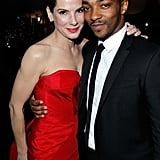 Sandra Bullock shared a hug with Anthony Mackie at a February 2011 post-Oscar bash in LA.