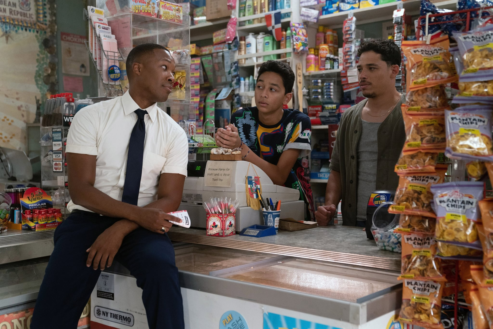 IN THE HEIGHTS, from left: Corey Hawkins, Gregory Diaz IV, Anthony Ramos, 2021. ph: Macall Polay /  Warner Bros. / Courtesy Everett Collection